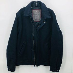 American Eagle Outfitters AEO Navy Wool Mens Coat